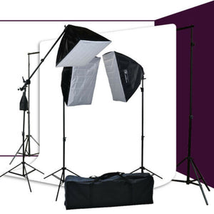 10x12 White Background Support & 3 Softbox Photography Video Boom hair Lighting