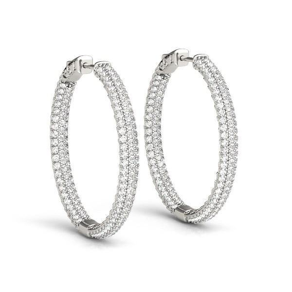 14k White Gold Two Row Pave Set Diamond Hoop Earrings (7 cttw) - Marquee Jewelry