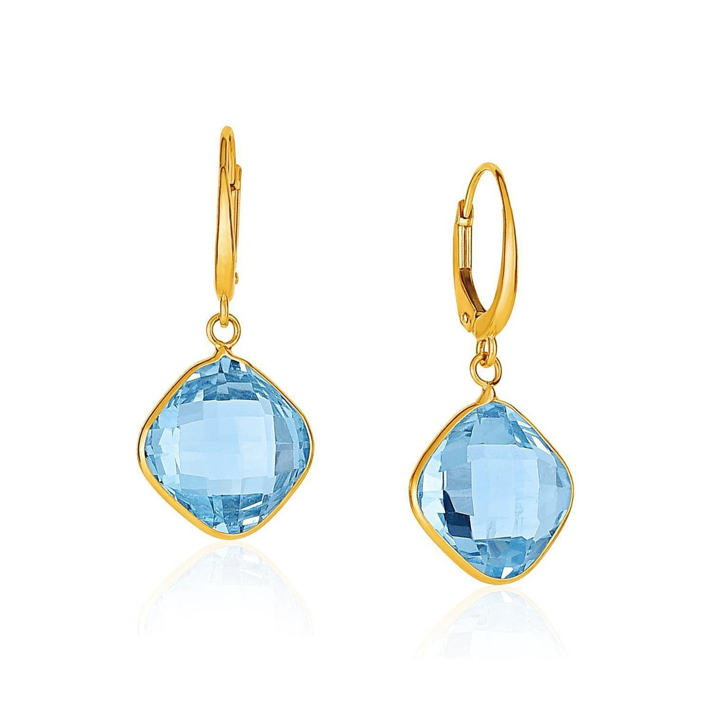 Drop Earrings with Blue Topaz Cushion Briolettes in 14k Yellow Gold - Marquee Jewelry