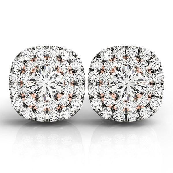 14k White and Rose Gold Cushion Shape Halo Diamond Earrings (3-4 cttw) - Marquee Jewelry