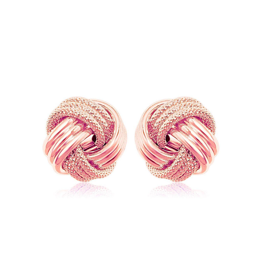 14k Rose Gold Love Knot with Ridge Texture Earrings - Marquee Jewelry