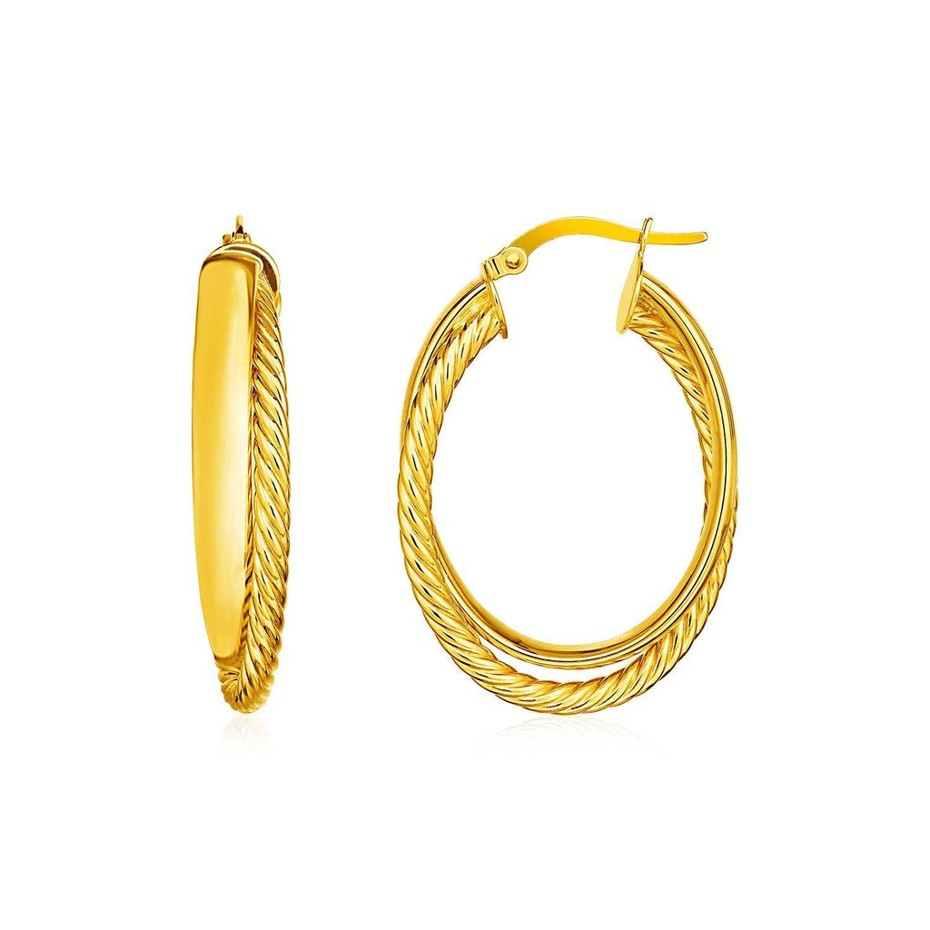 14k Yellow Gold Two Part Textured Twisted Oval Hoop Earrings - Marquee Jewelry
