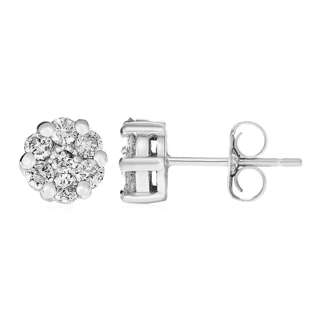 14k White Gold Post Earrings with Diamonds - Marquee Jewelry