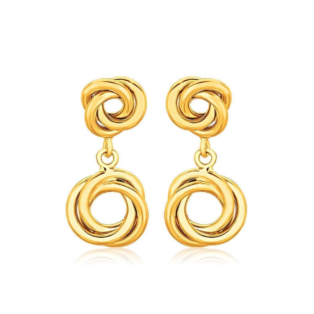 14k Yellow Gold Love Knot Stud Earrings with Drops - Marquee Jewelry