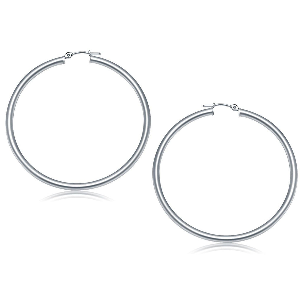 14k White Gold Polished Hoop Earrings (50 mm) - Marquee Jewelry