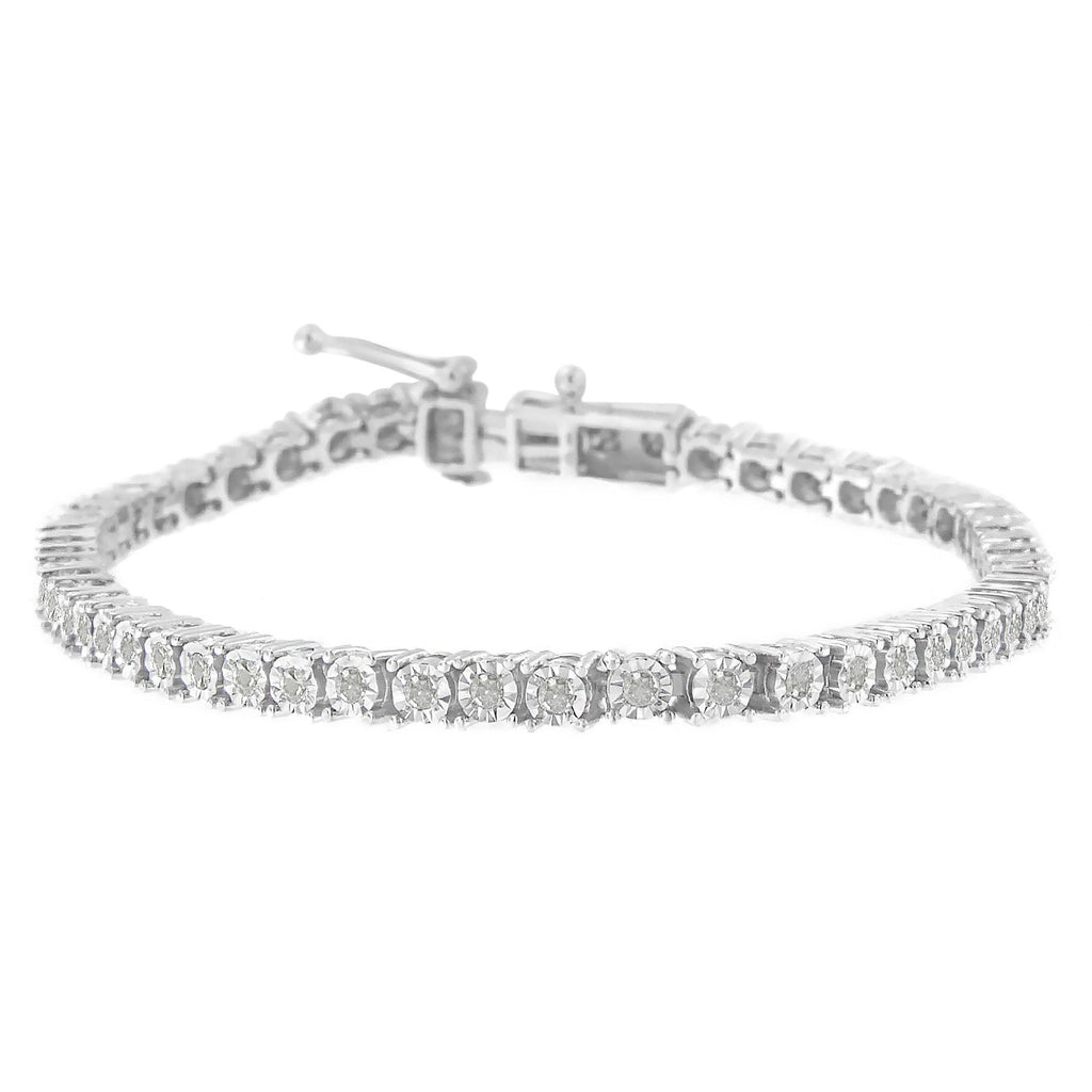 Sterling Silver Rose-Cut Diamond Tennis Bracelet