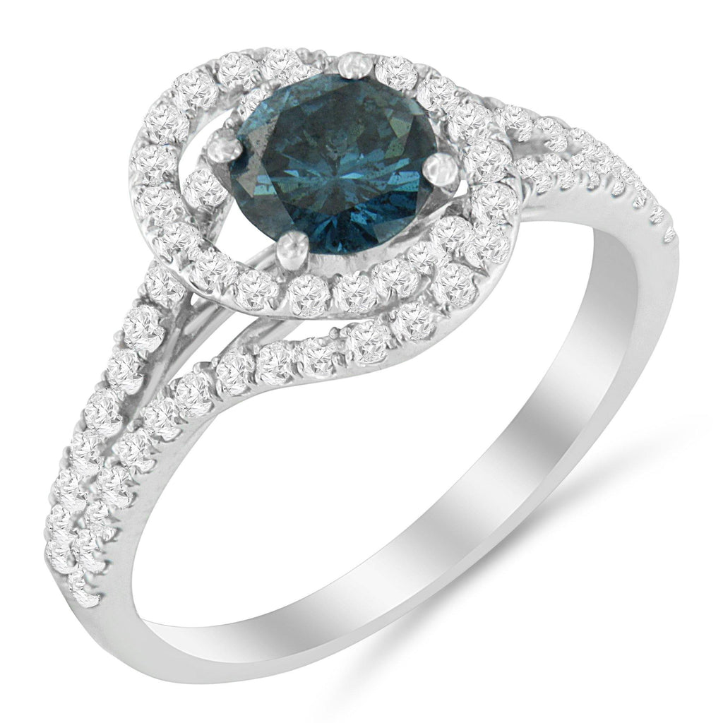 14K White Gold 1-1/3 CT. T.W. Treated Blue Diamond Engagement Ring