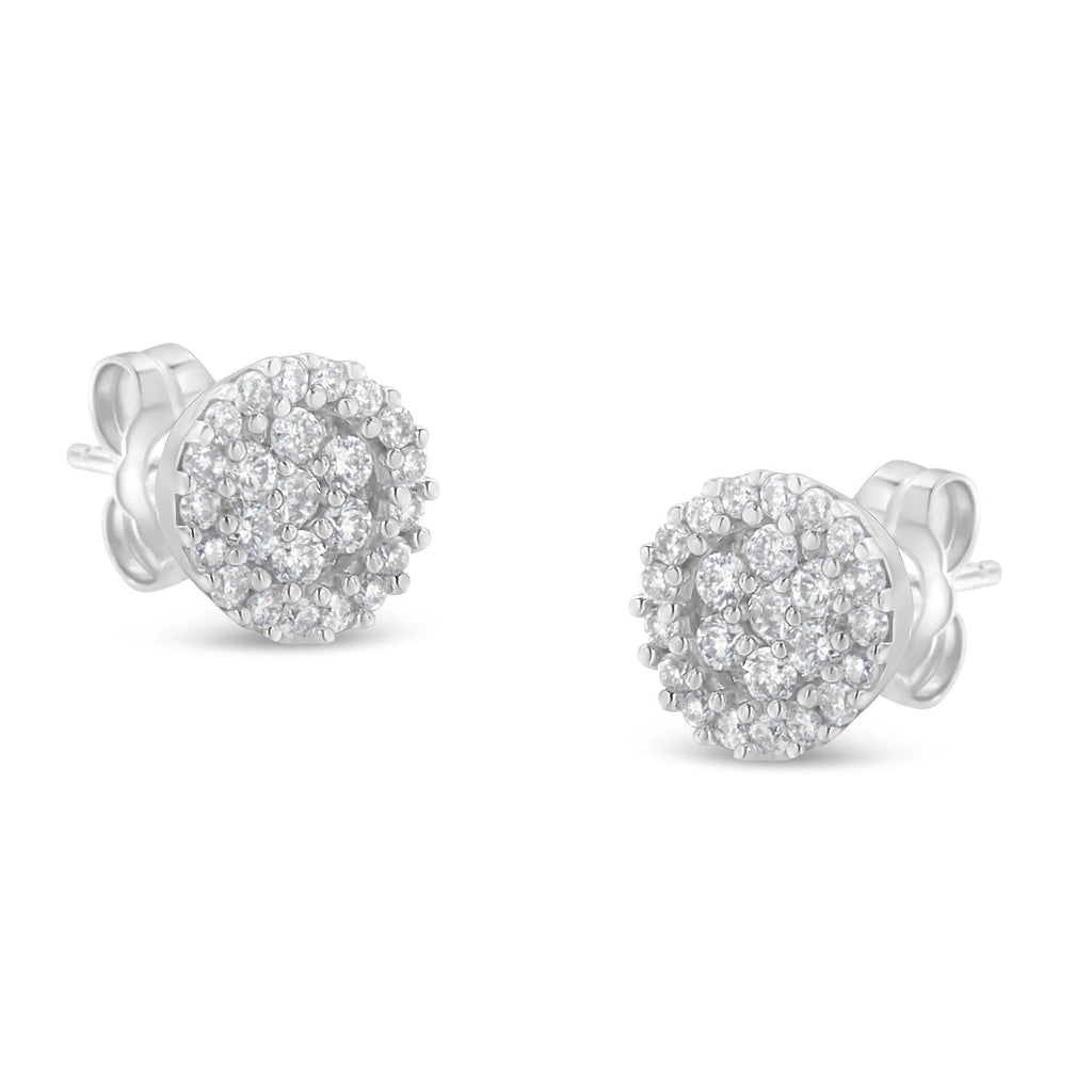 14K White Gold 1/2 CT. T.W. Diamond Floral Cluster Stud Earrings