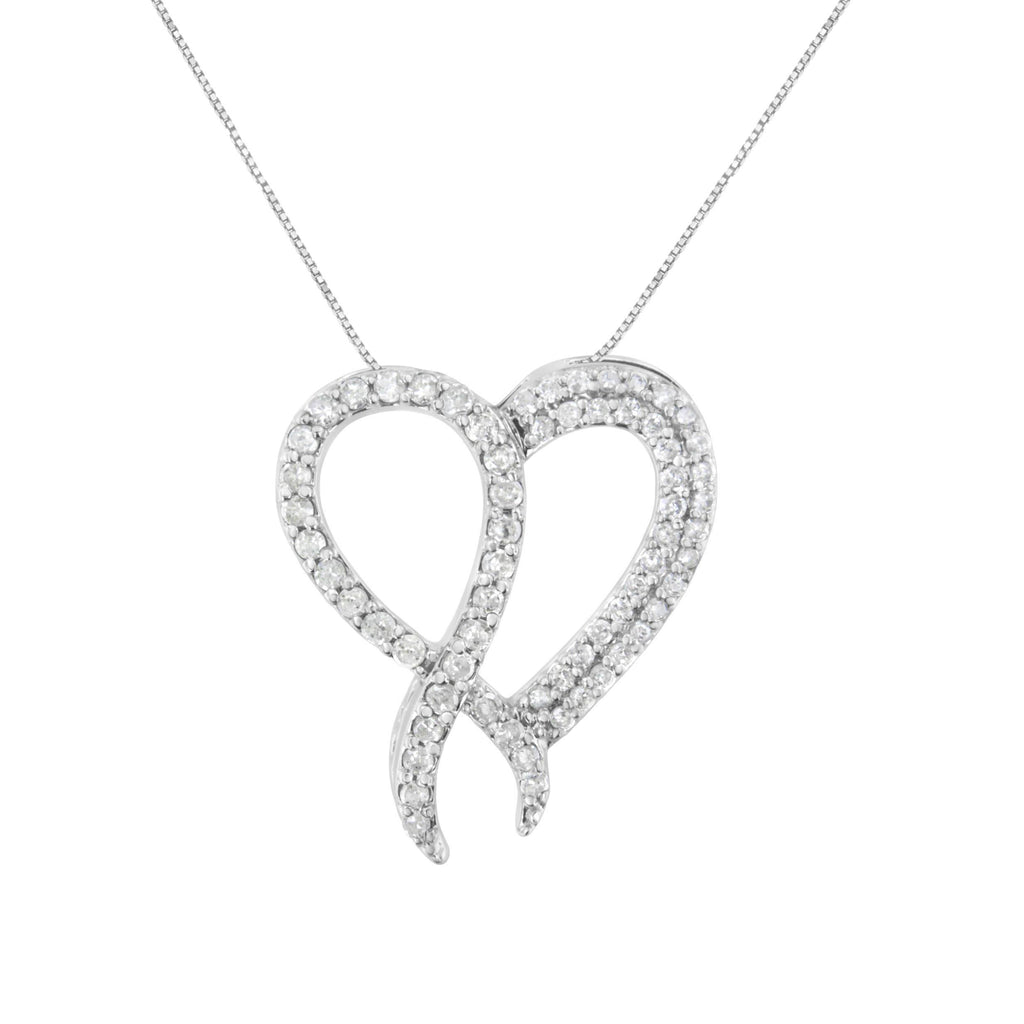 925 Sterling Silver 1 CT. T.W. Diamond Heart and Ribbon Pendant Necklace