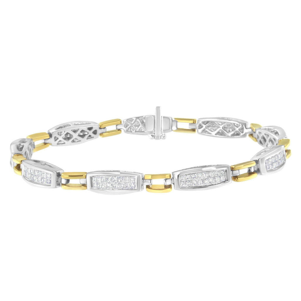 14K Yellow and White Gold 2 CT. T.W. Channel-Set Diamond X-Link Bracelet