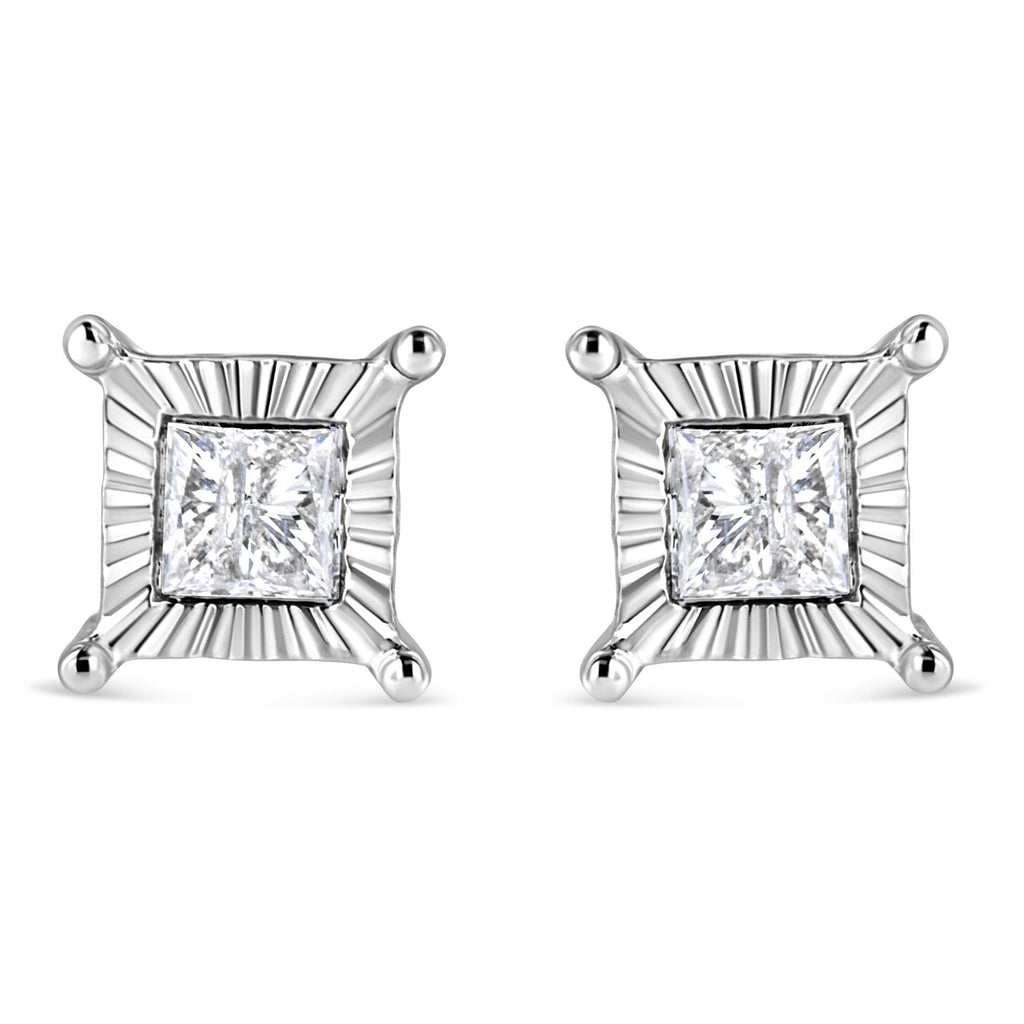 925 Sterling Silver 1 CT. T.W. Miracle Set Princess-Cut Diamond Solitaire Stud Earrings