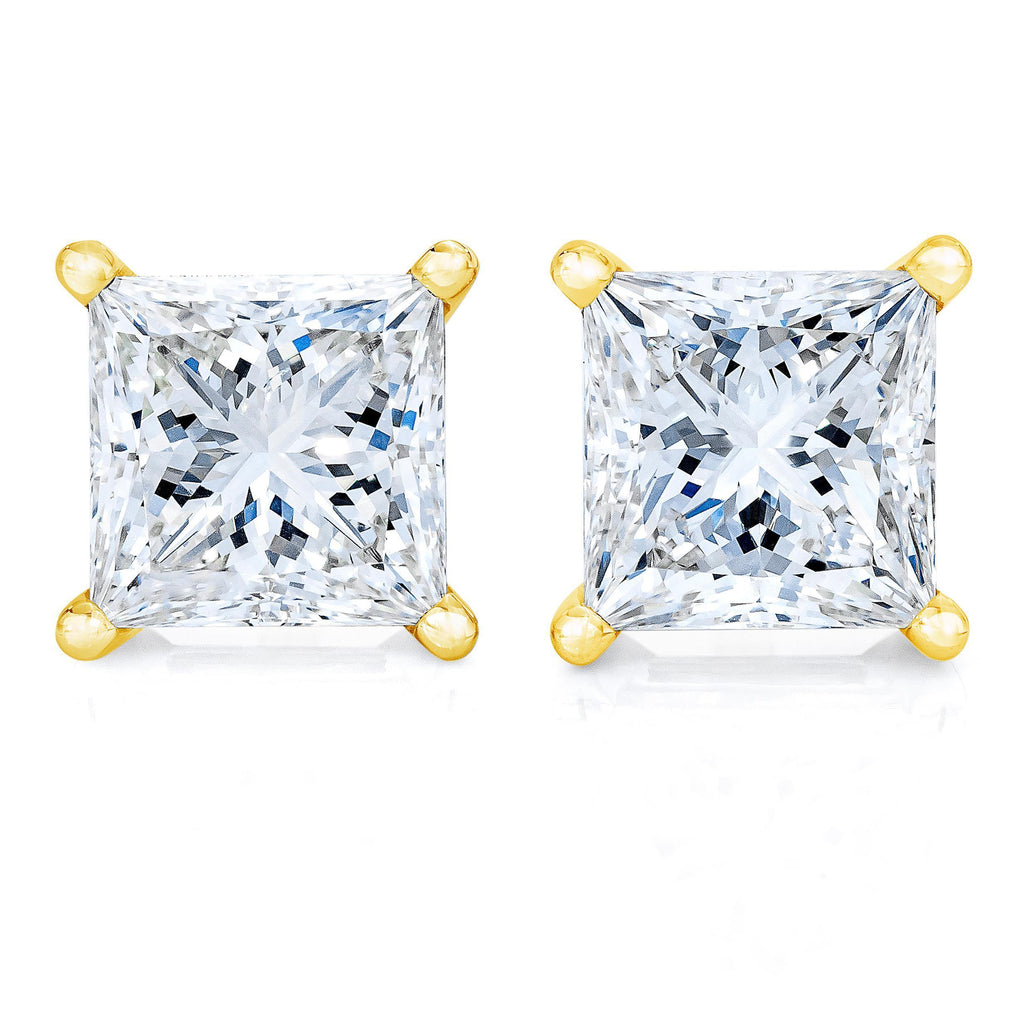14K Yellow Gold 1/4 CT. T.W. Princess-Cut Solitaire Diamond Stud Earrings