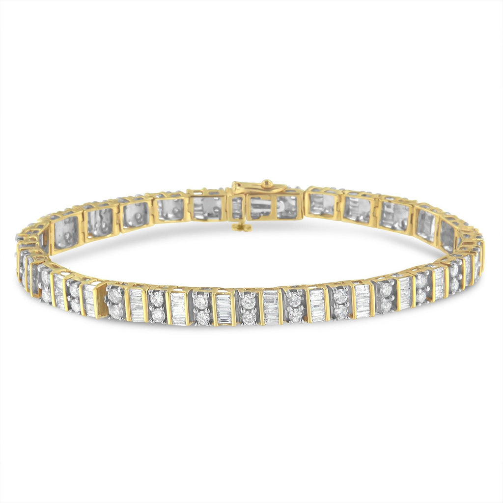 10K Yellow Gold 4 CT. T.W. Baguette and Round Cut Diamond Tennis Bracelet