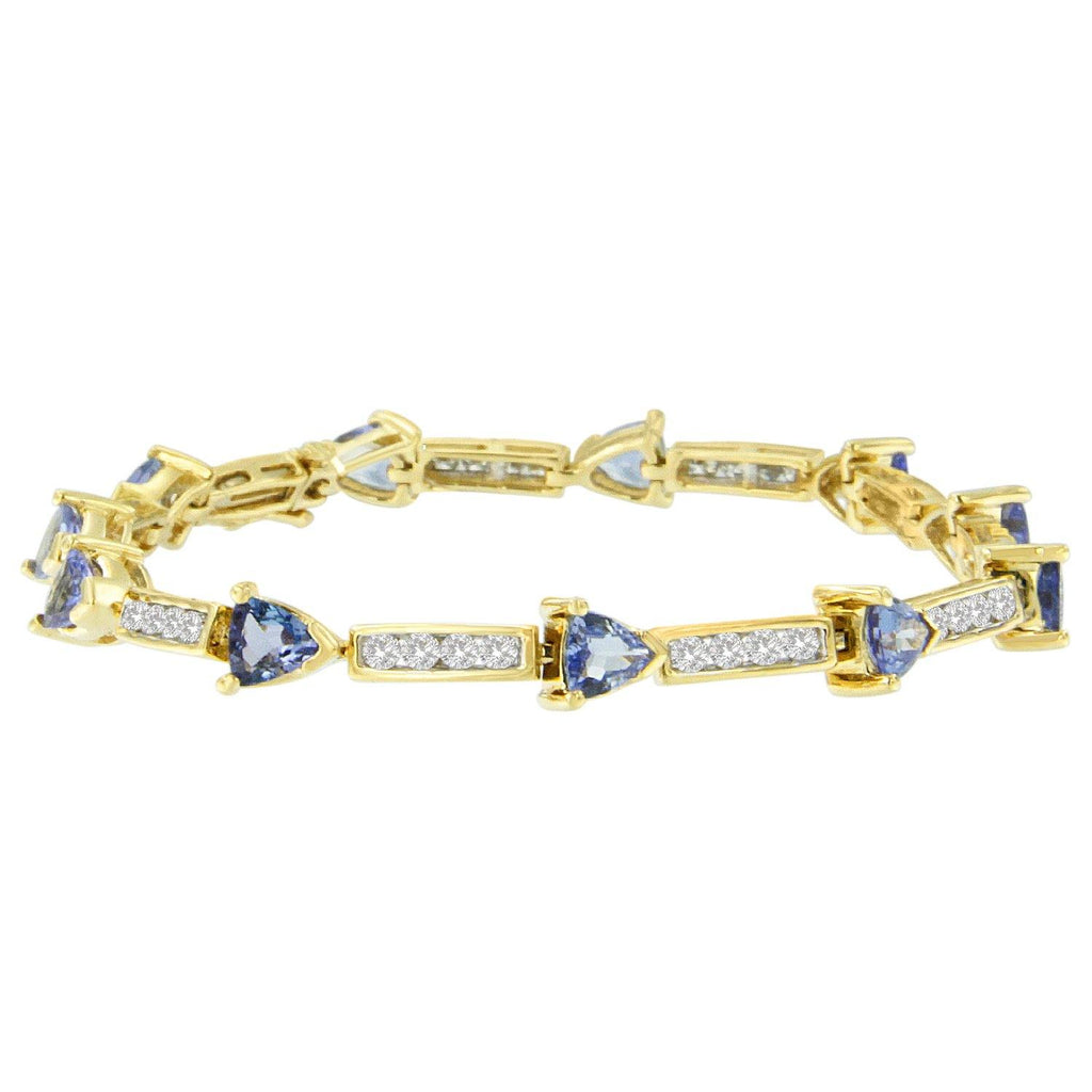 14K Yellow Gold 1/4 CT. T.W. Diamond Tanzanite Link Bracelet