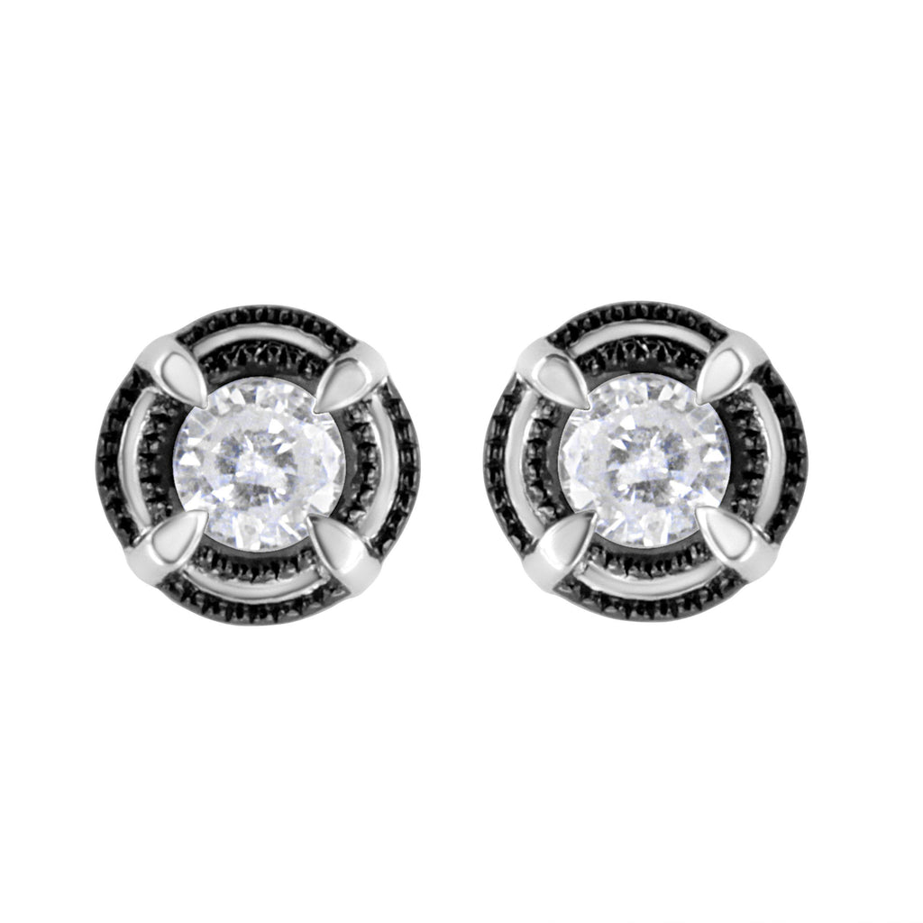 925 Sterling Silver Diamond 4-Prong Solitaire Milgrain Stud Earrings