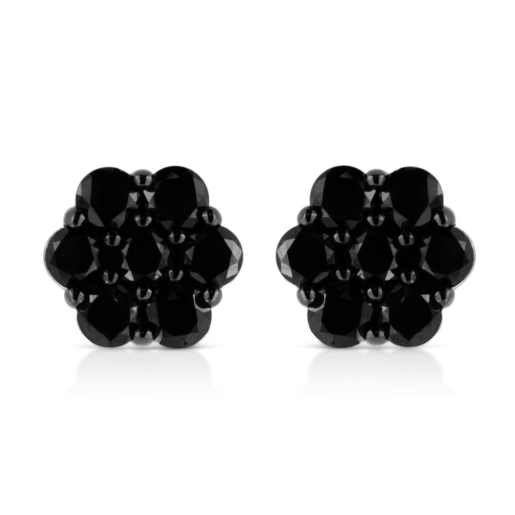 925 Sterling Silver 2 CT. T.W. Treated Black Diamond Floral Cluster Stud Earrings