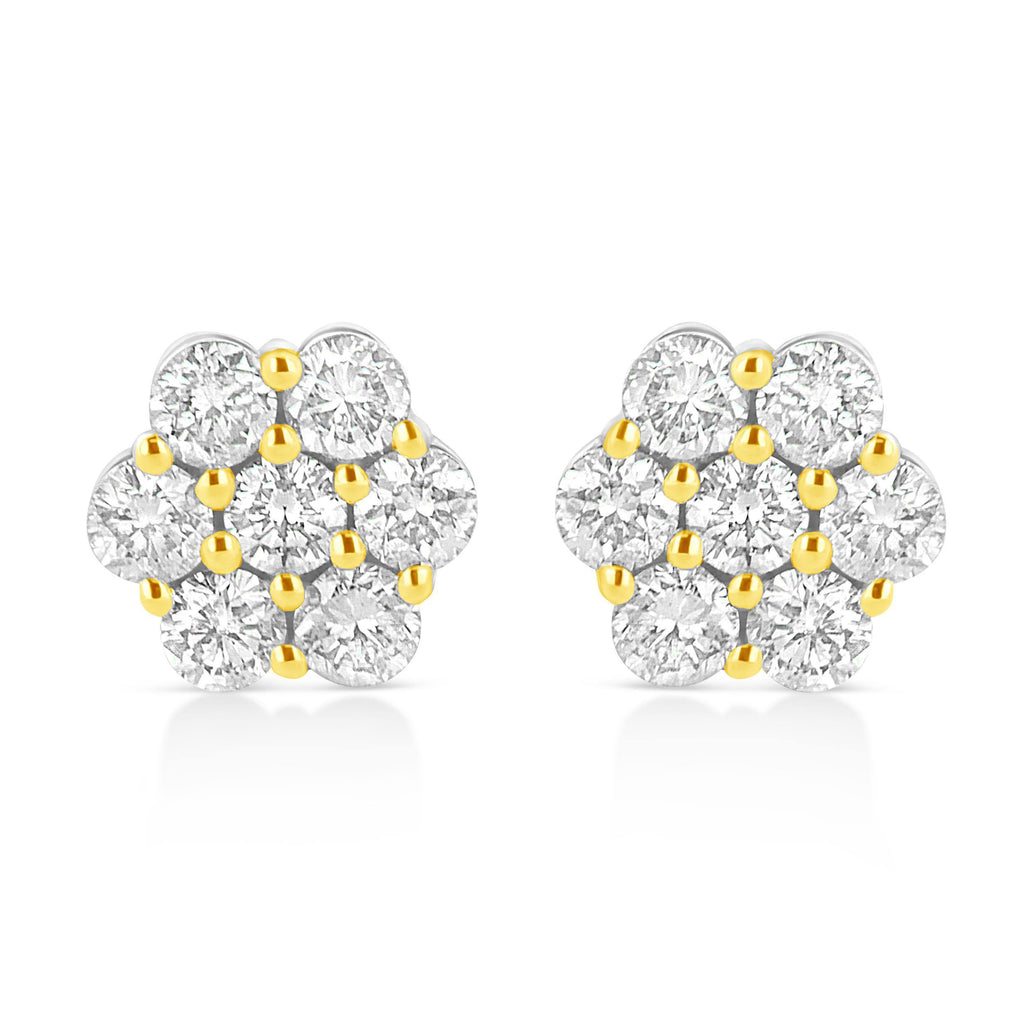14k Yellow Gold Plated 925 Sterling Silver 1/4 CT. T.W. Diamond Floral Cluster Stud Earrings