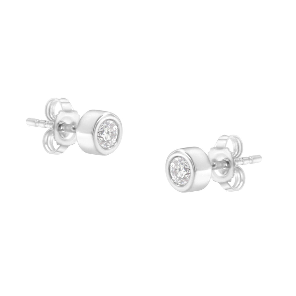 10K White Gold 1/4 CT. T.W. Diamond Bezel Stud Earrings