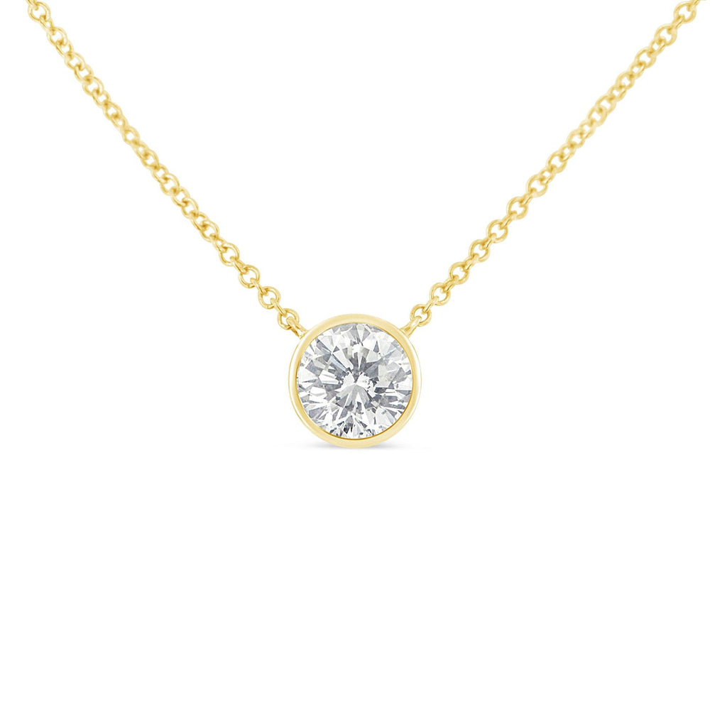 10K Yellow Gold 1/10 CT. T.W. Diamond Solitaire Pendant Necklace