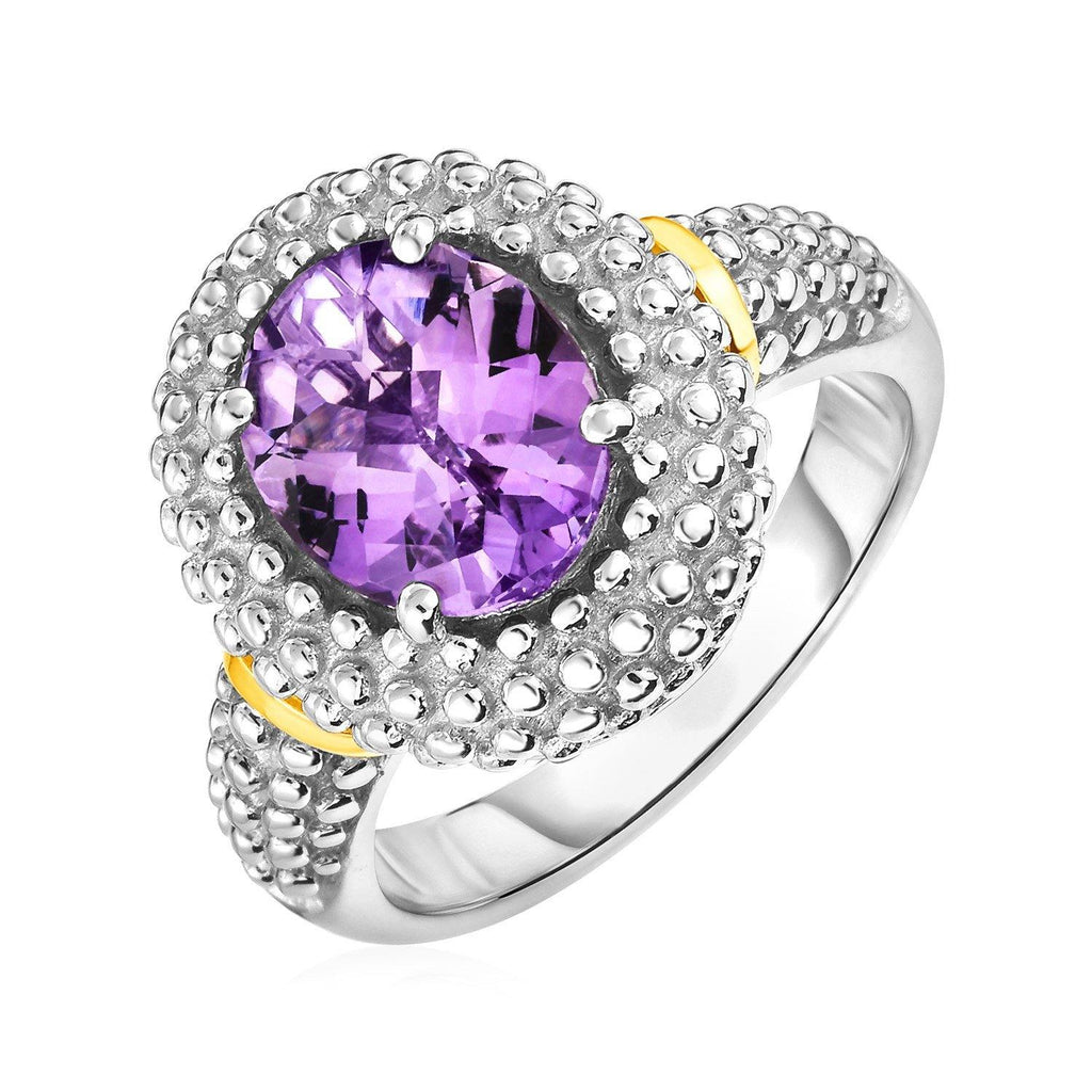 18K Yellow Gold & Sterling Silver Oval Amethyst Ring