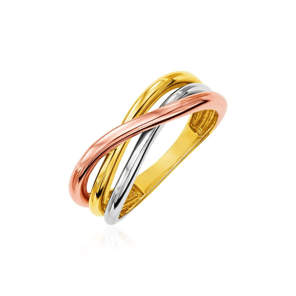 14K Tri Color Gold Twist Style Ring