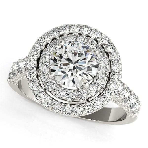 14k White Gold Diamond Engagement Ring with Double Pave Halo (2 5/8 cttw) - Marquee Jewelry