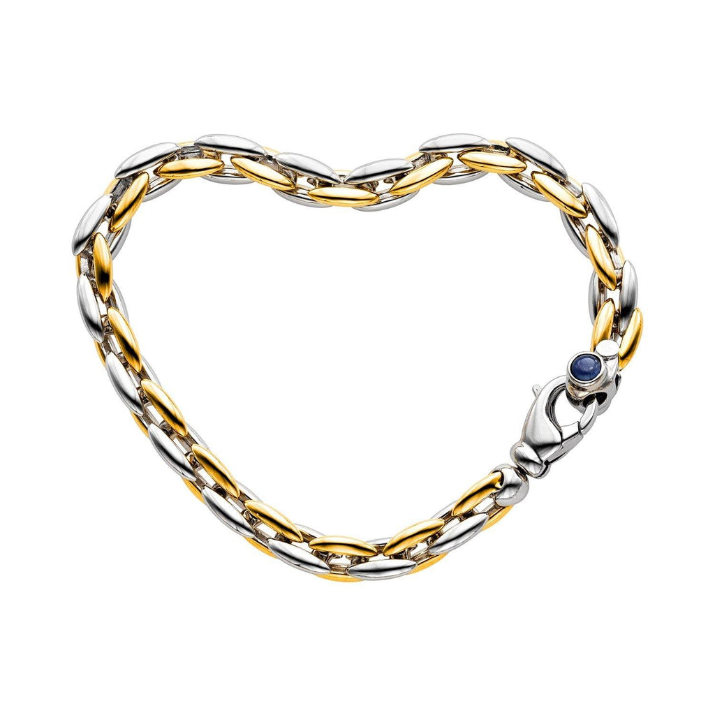14K Two-Tone Gold Blue Sapphire Domed Link Bracelet