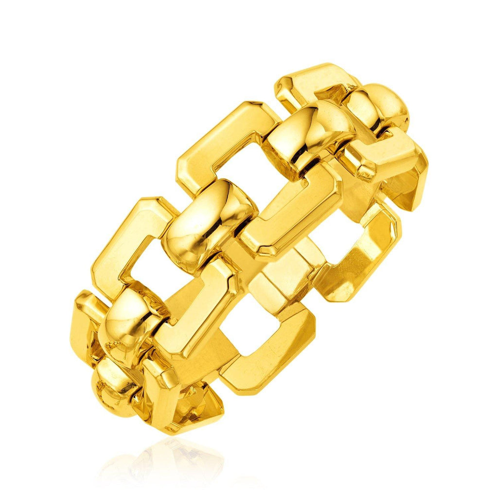 14K Yellow Gold Wide Square Link Bracelet