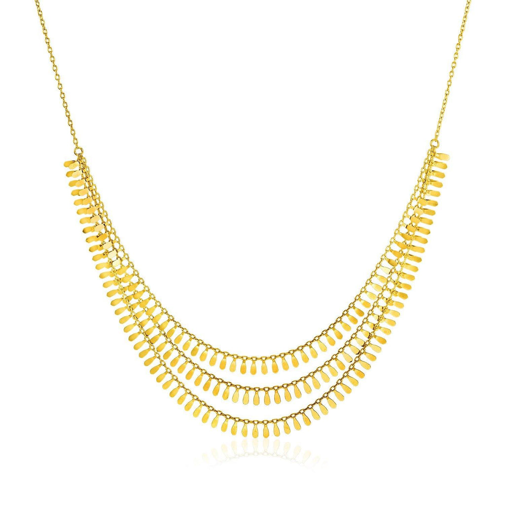 14K Yellow Gold Three Strand Leaf Motif Necklace