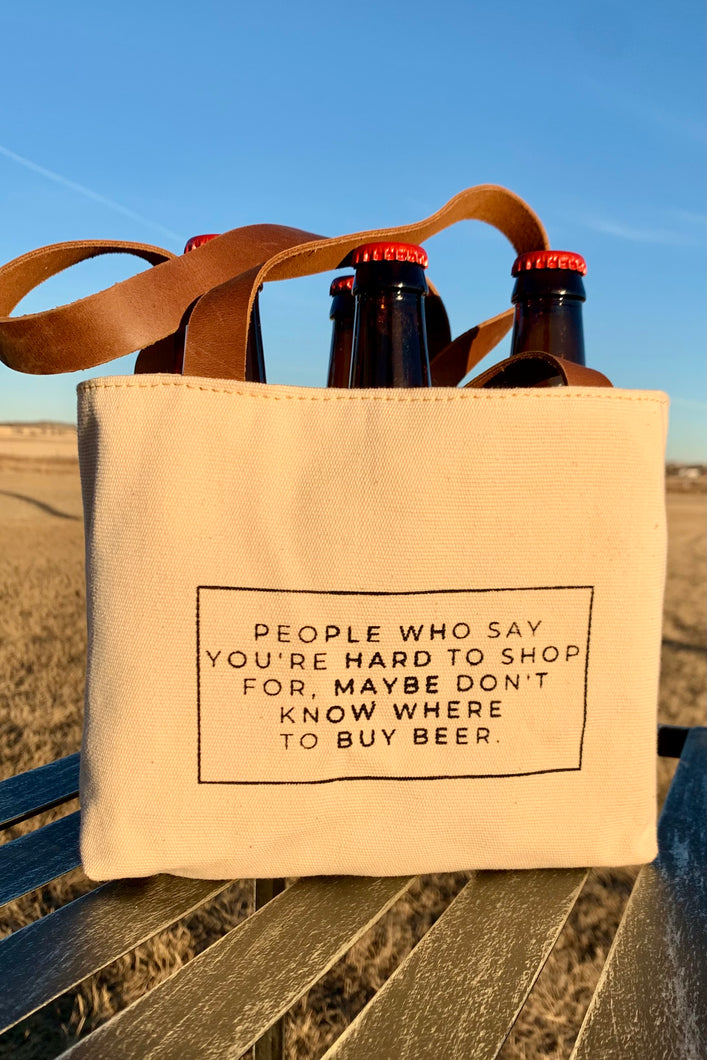 6 pack canvas/leather beer holder