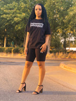 Stay Virtuous and Chill biker short set (black)