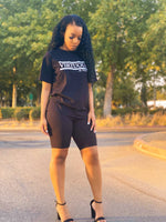 'Stay Virtuous and Chill' biker short set (black)