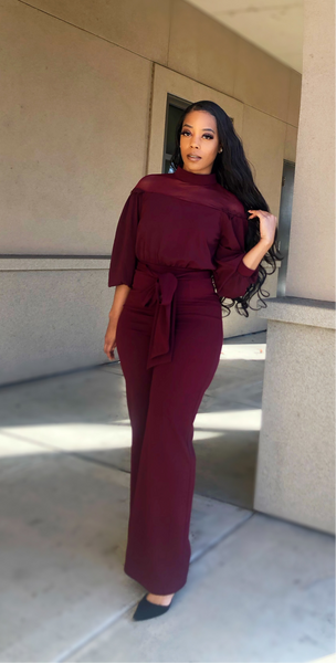 'Just believe' jumpsuit (wine)