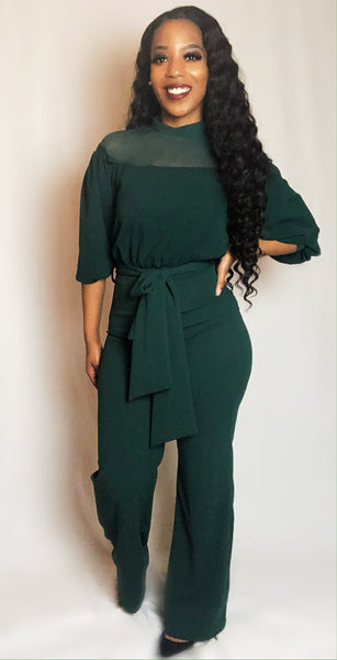 'Just Believe' jumpsuit (hunter green)