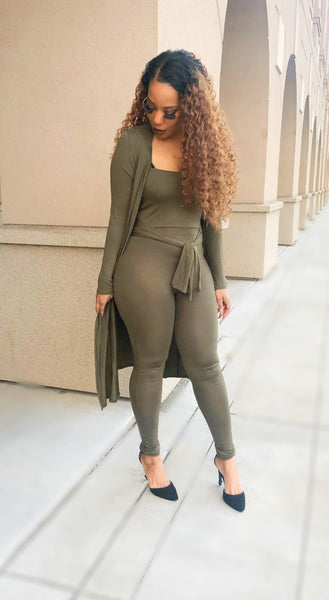 Pray and Slay cardigan JUMPSUIT set (olive green)