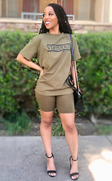 'Stay Virtuous and Chill' biker short set (Olive Green)