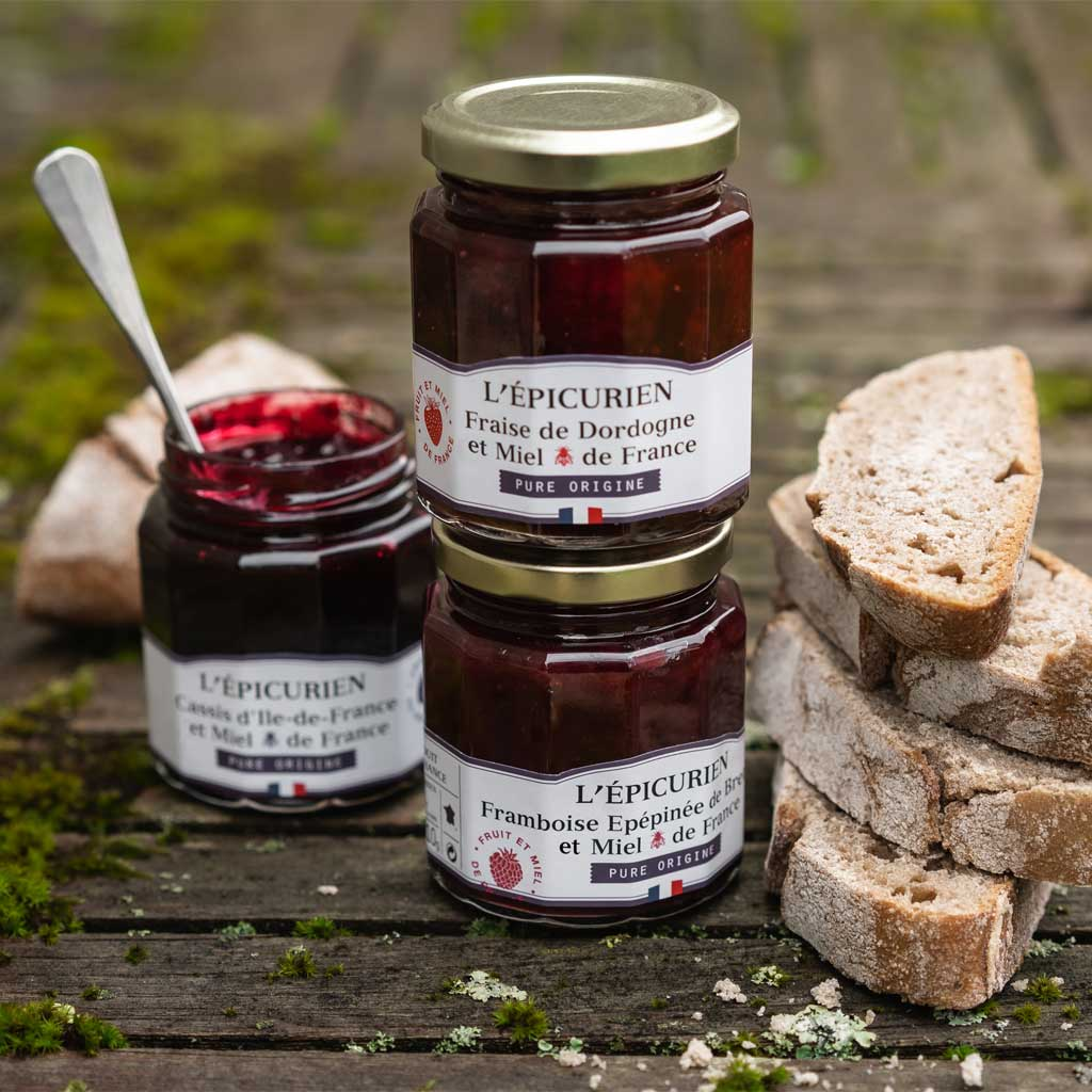 "3 confitures ""Pure Origine"" aux baies et miel de France confiture L'Épicurien"