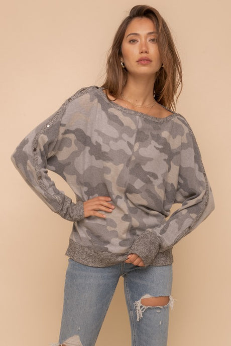SOFT GREY CAMO DOLMAN TOP