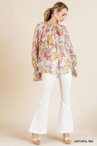 FLORAL NATURAL MIX BLOUSE | PLUS