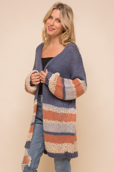 CHUNKY KNIT BLUE + RUST CARDIGAN