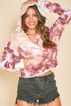 Load image into Gallery viewer, WHITE TIE DYE CROPPED HOODIE