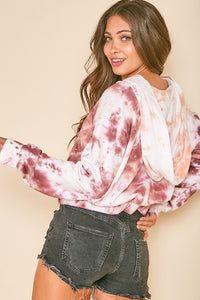 WHITE TIE DYE CROPPED HOODIE