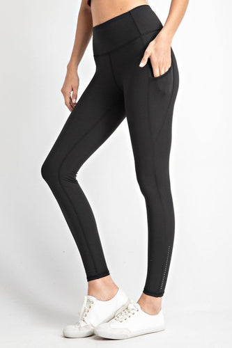 BLACK YOGA POCKET LEGGING WITH REFLECTORS