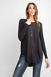 LONG SLEEVE SCOOP TUNIC | 5 COLORS