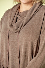 Load image into Gallery viewer, HEATHERED BROWN COWL TUNIC | PLUS