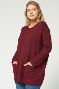 BURGUNDY SWEATER TUNIC | PLUS