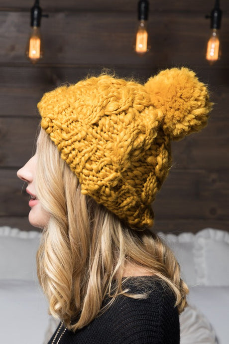 MUSTARD CABLE BEANIE