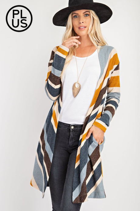 CHENILLE STRIPE CARDIGAN | 2 COLORS | S-3X