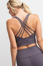 Load image into Gallery viewer, BUTTERY-SOFT STRAPPY SPORTS BRA | CHARCOAL + OLIVE