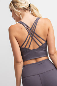 BUTTERY-SOFT STRAPPY SPORTS BRA | CHARCOAL + OLIVE